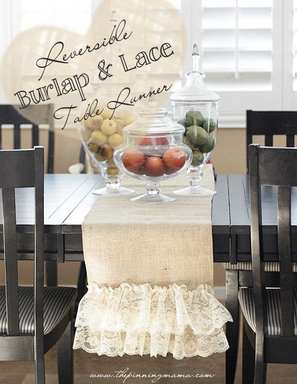 DIY Reversible Burlap and Lace Table Runner
