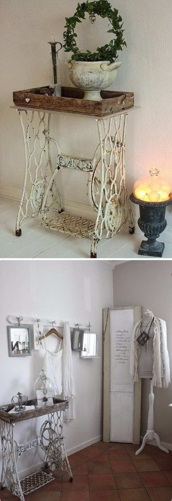 Shabby Chic Singer Sewing Machine Table with Antique White Finish.