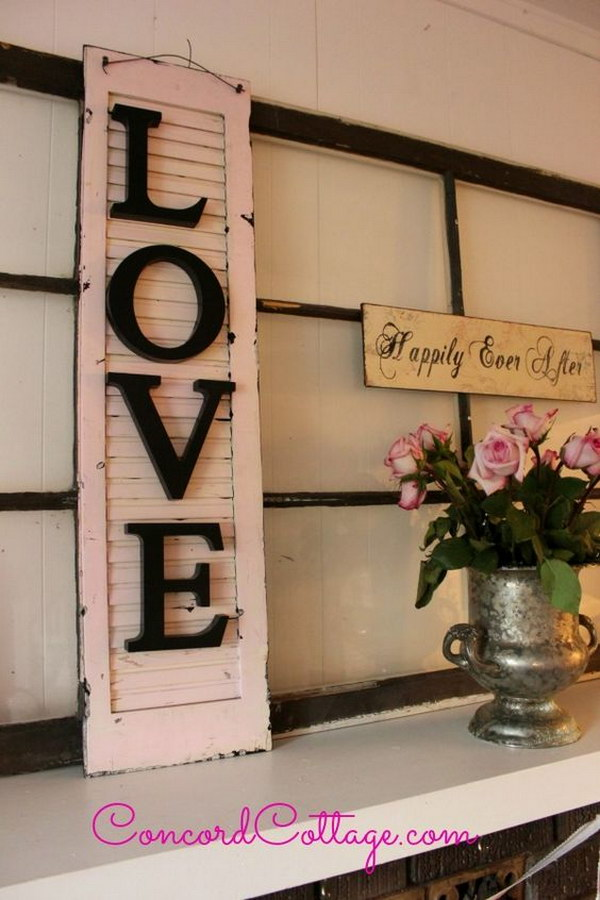 Old Shutter Turned Shabby Chic Wall Decor