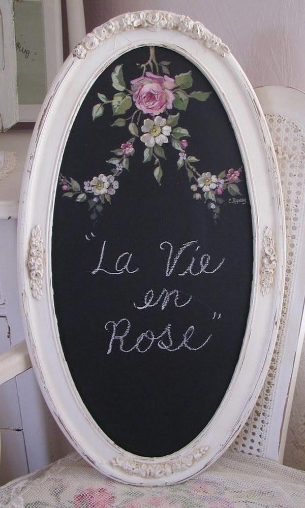 DIY Oval Rose Chalkboard