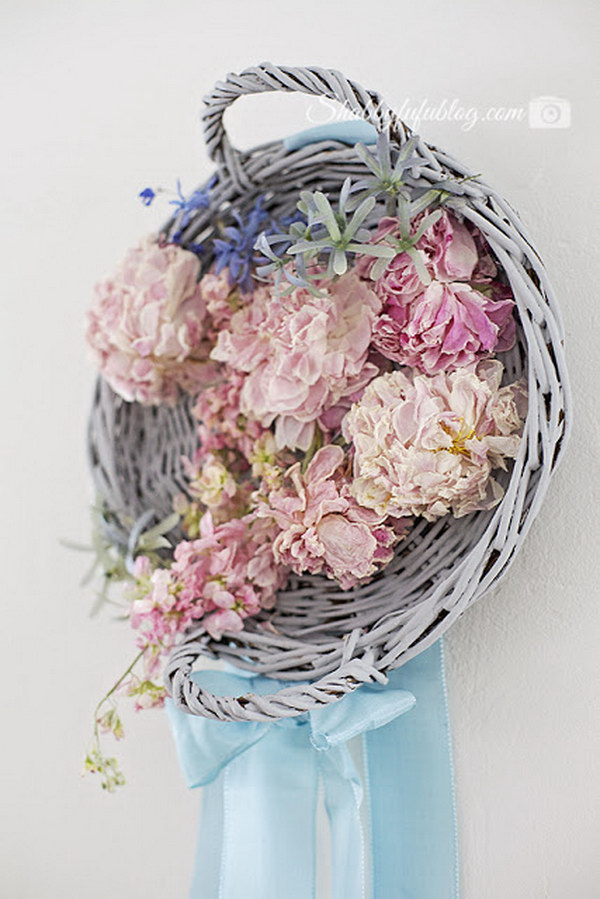 DIY Wicker and Floral Peony Wreath