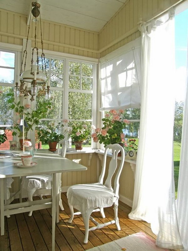 Bright And Shabby Chic Dining Room.