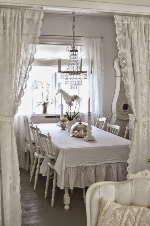 White and Shabby Chic Dining Room.