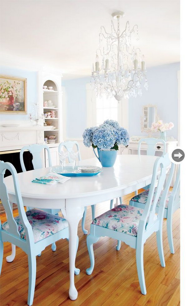 Shabby Chic Dining Room Ideas Part - 43: Blue And White Shabby Chic Dining Room