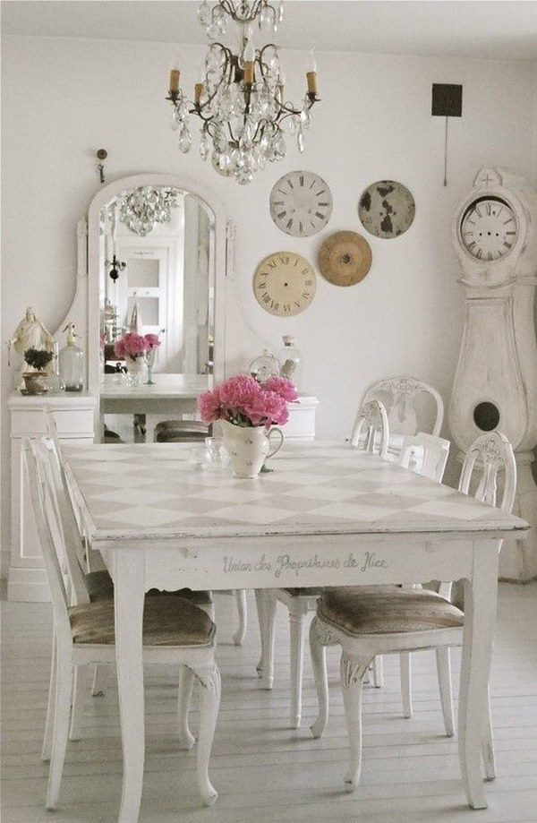 Wonderful Shabby Chic Style Dining Room With Unique Decors.