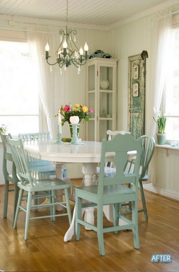 Inviting Shabby Chic Dining Room In White And Green.