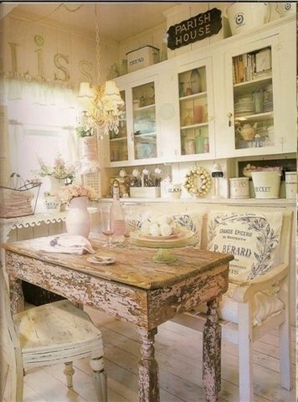 Shabby Chic Eat-in Kitchen with a Rustic Wood Dinning Table.