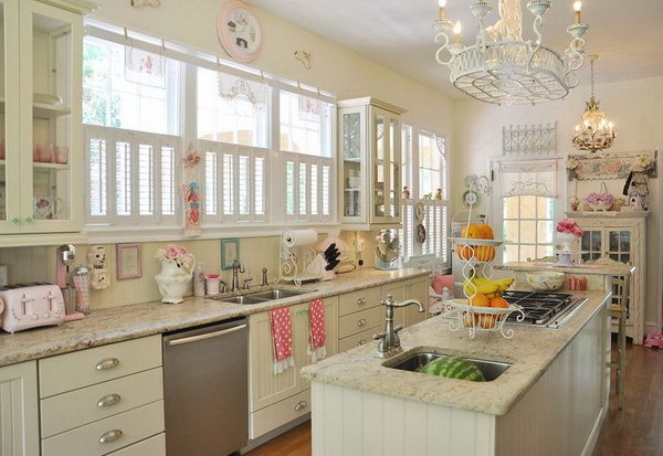 Adorable Shabby Chic Kitchen with So Many Details