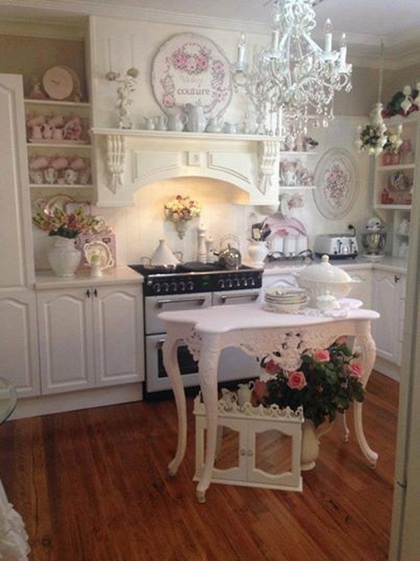 50 sweet shabby chic kitchen ideas 2017 for Photo shabby chic