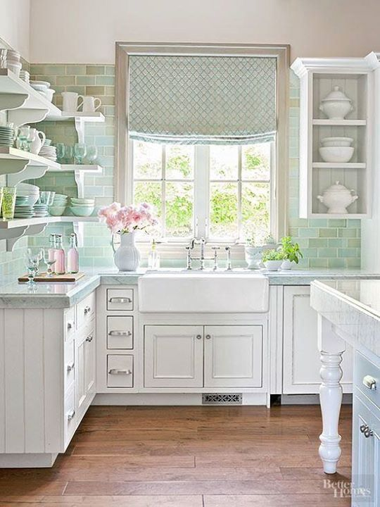 White And Mint Green Shabby Chic Kitchen.