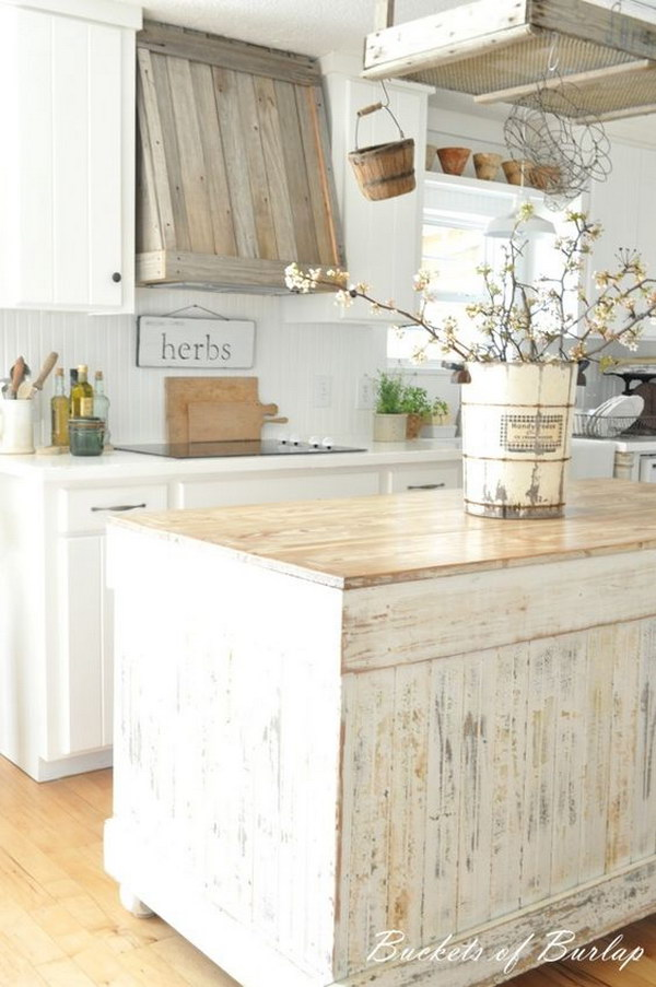 Shabby Chic Wood Kitchen Island.