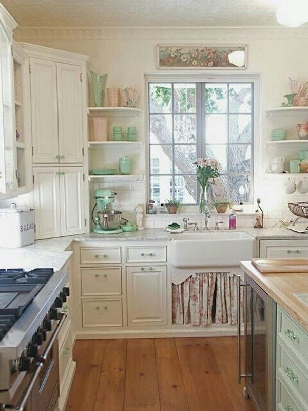 Shabby Chic Pink and Green Kitchen.