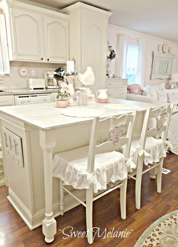 All-white Shabby Chic Kitchen.
