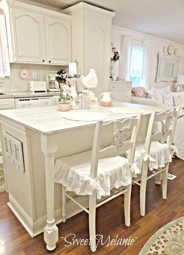 All-white Shabby Chic Kitchen.