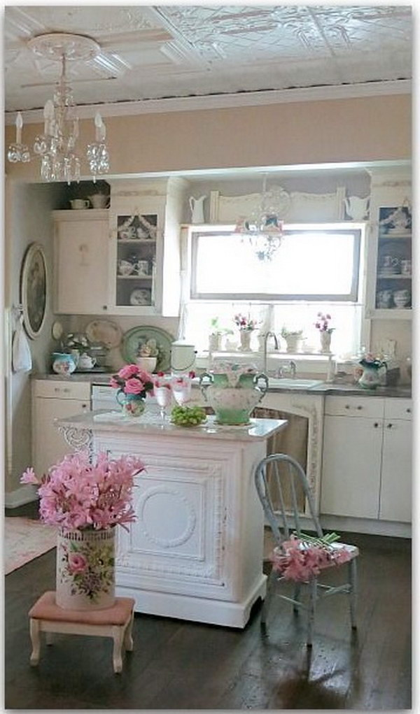 50 sweet shabby chic kitchen ideas beautiful white round kitchen table and chairs homesfeed