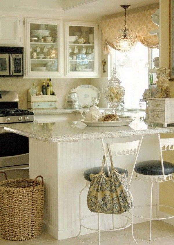 Small White Shabby Chic Kitchen.