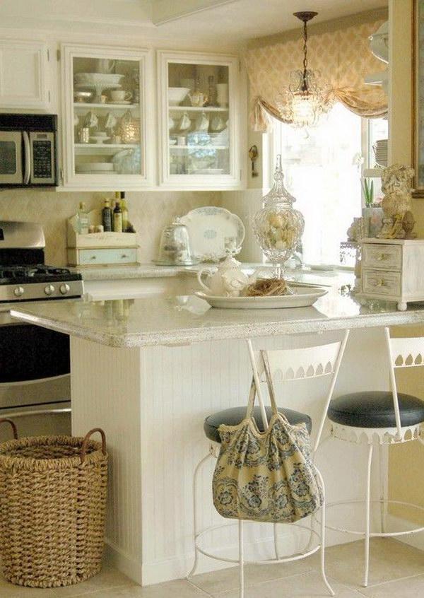 Small White Shabby Chic Kitchen.