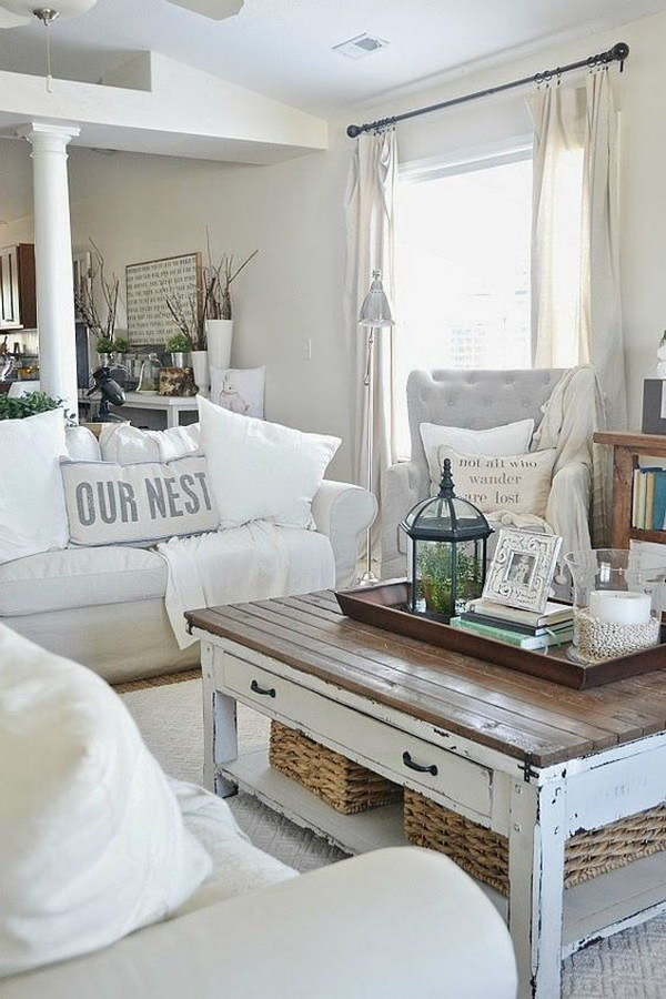 Cute White Shabby Chic Living Room With Rustic Chic Coffee Table