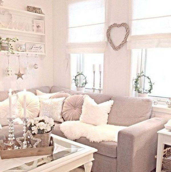 Shabby Chic Living Room with Grey Sofa