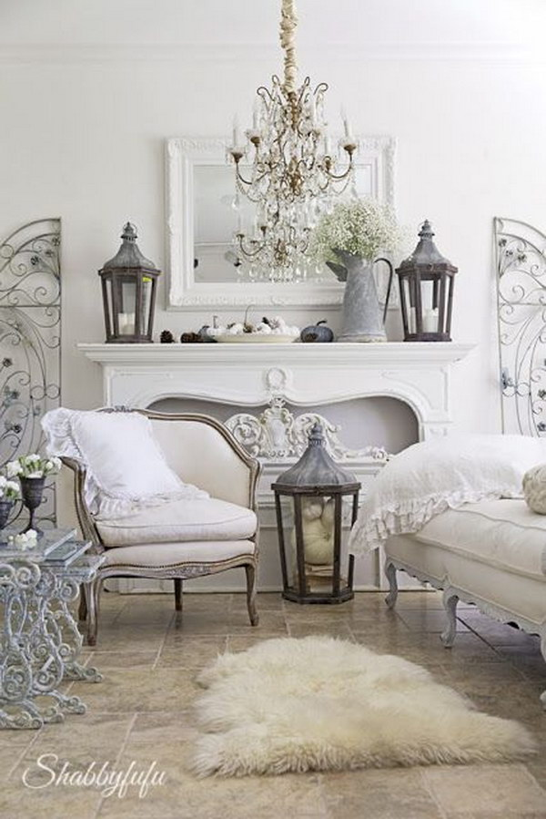 55 romantic shabby chic living room ideas 2017 for Table de noel shabby chic