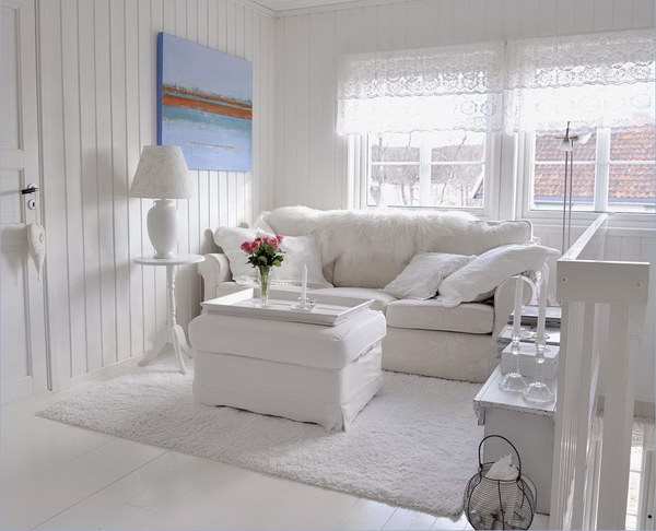 All White Living Room.