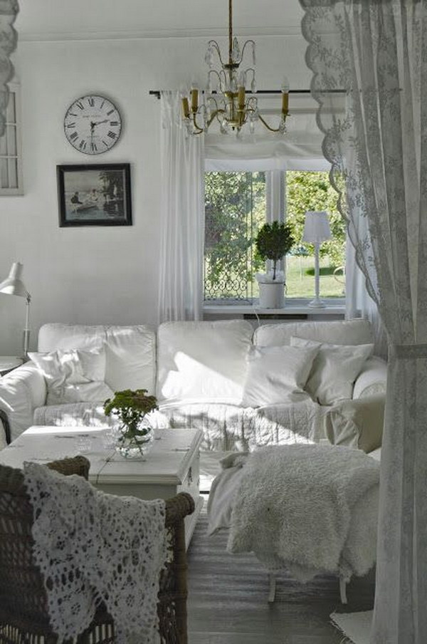 Shabby Chic White Living Room