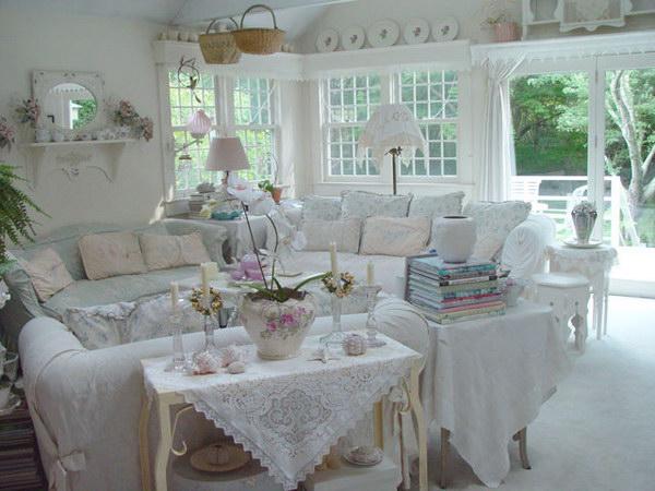 White Shabby Chic Living Room Decor