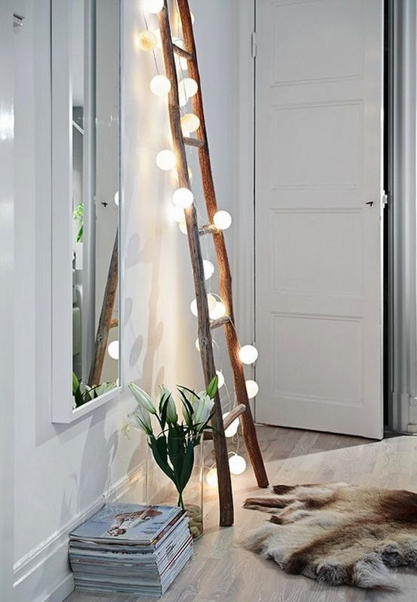 Vintage Ladder Decoration with String Lights.