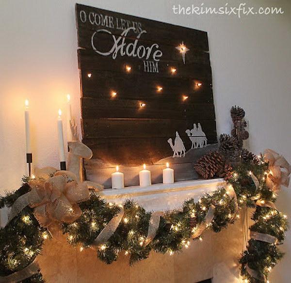 Rustic Christmas Mantle Decoration.