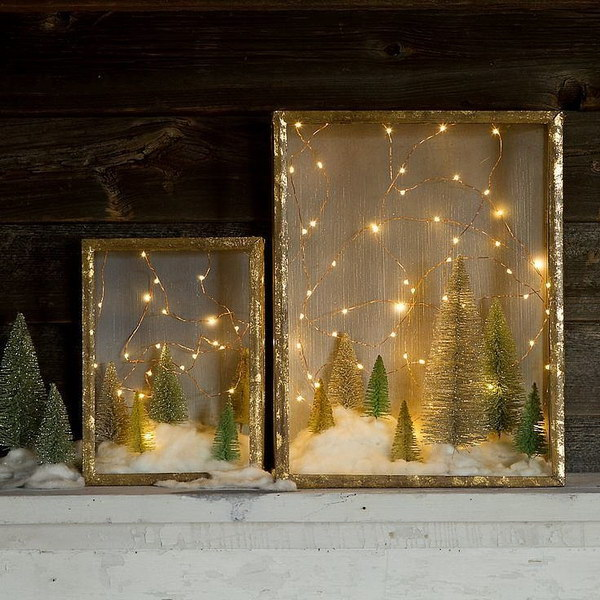 Enchanted DIY Christmas Forest Shadow Box.