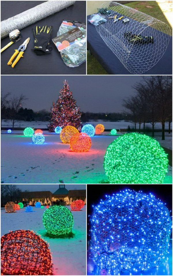 DIY Christmas Light Balls.
