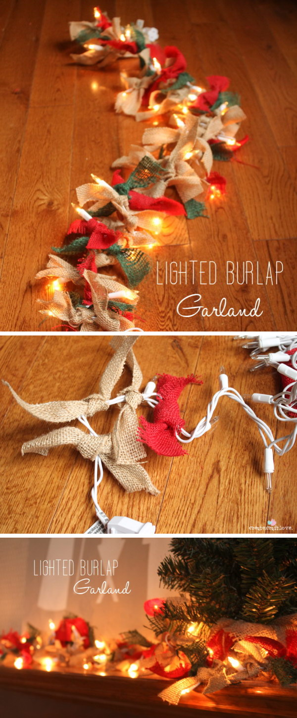Lighted Burlap Garland.