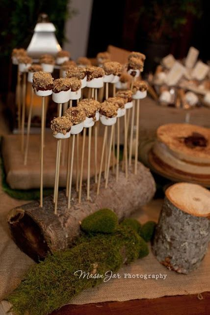 S'mores On A Stick for a Wood Themed Baby Boy Shower.