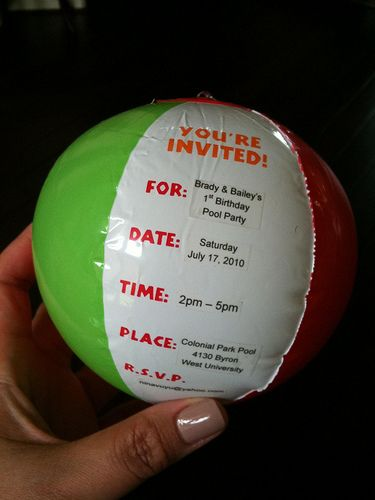 Cute Beachball Invitations For a Pool Party.