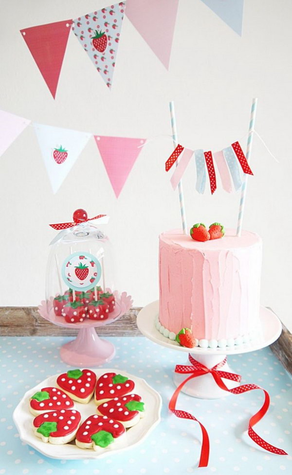 Sweet Strawberry Dessert Display.