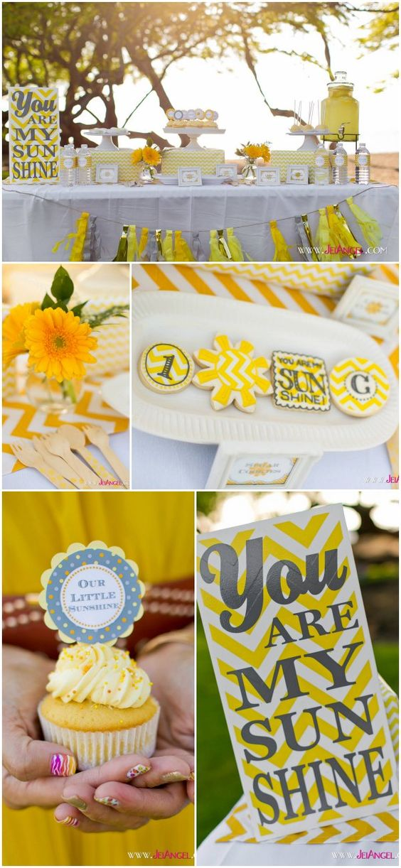 'You Are My Sunshine' is a Fun and Bright Theme for Birthday or Baby Shower.
