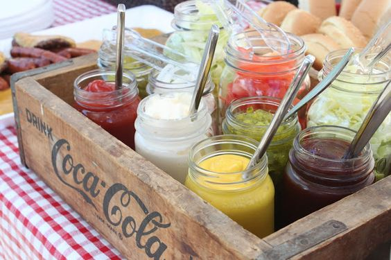 Use Wood Crate to hOld Condiments and Burger Toppings for a Picnic Themed Baby Shower.