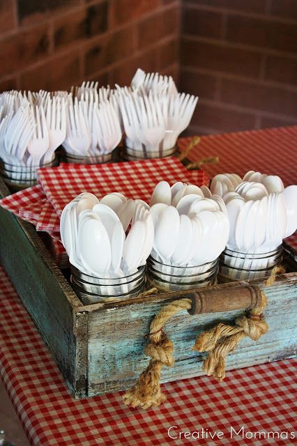 Fill Small Mason Jars With Spoons & Forks.