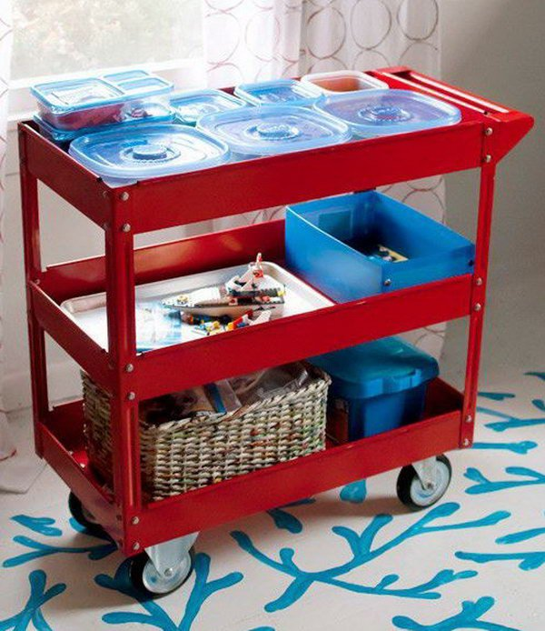 Use A Three Shelf Steel Service Cart To Store Toys And Craft Projects In Progress