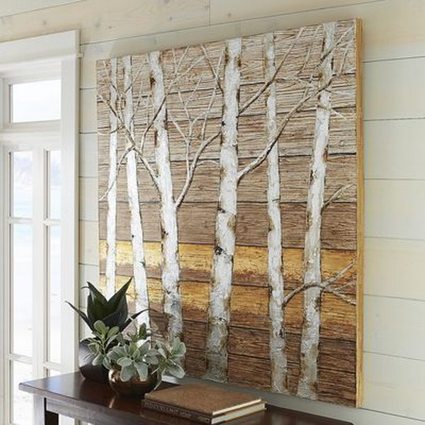 Metallic Birch Trees Wall Art.