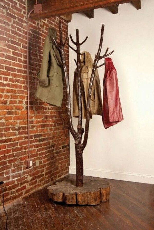 DIY Tree-shaped Coat Rack.