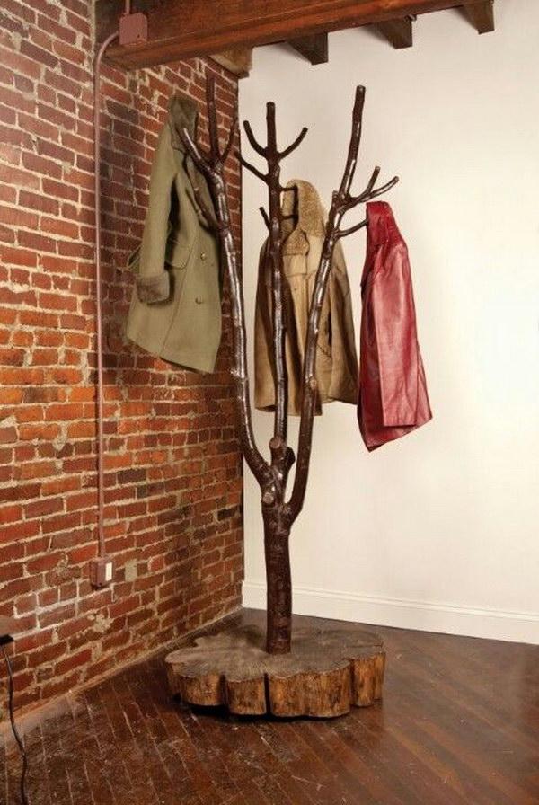 DIY Tree-shaped Coat Rack.