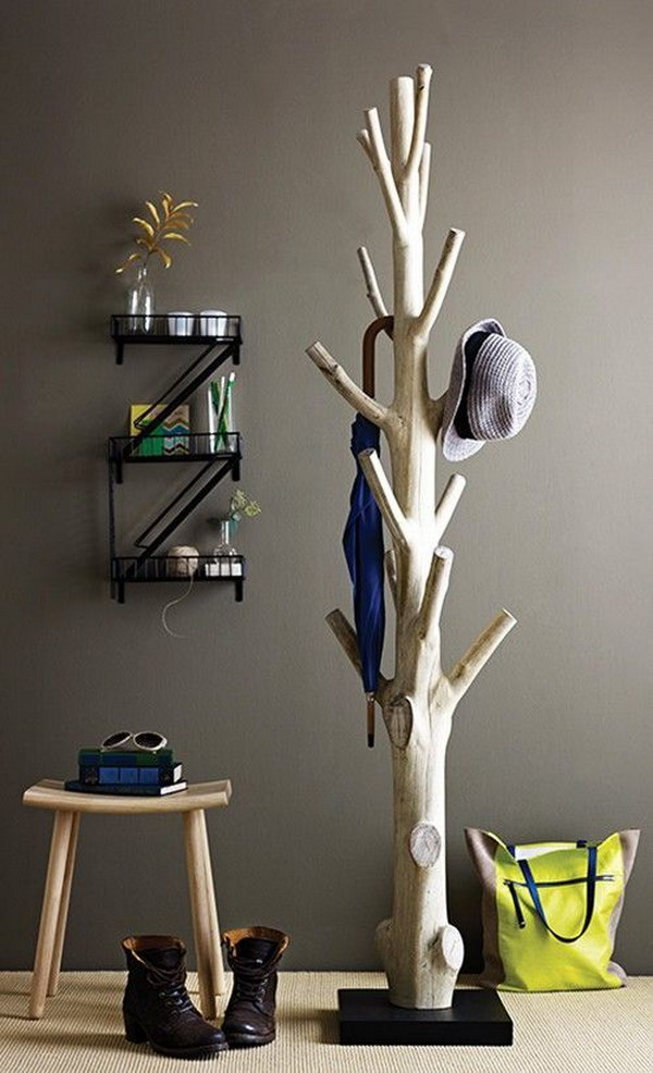 DIY Branch Coat Rack.