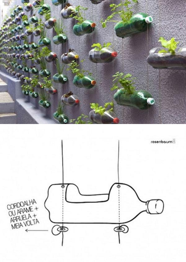 Recycled Plastic Bottle Vertical Garden.