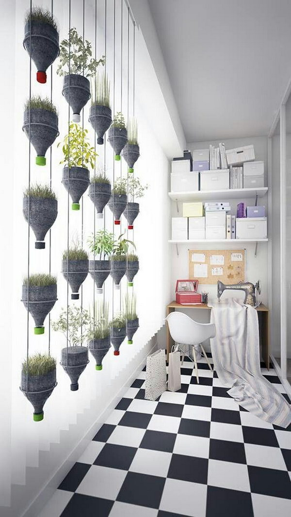 Recycled Plastic Bottles Hanging Plants Wall