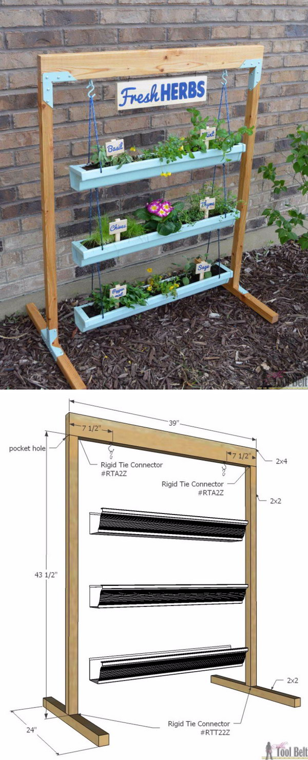 DIY Hanging Gutter Planter and Stand