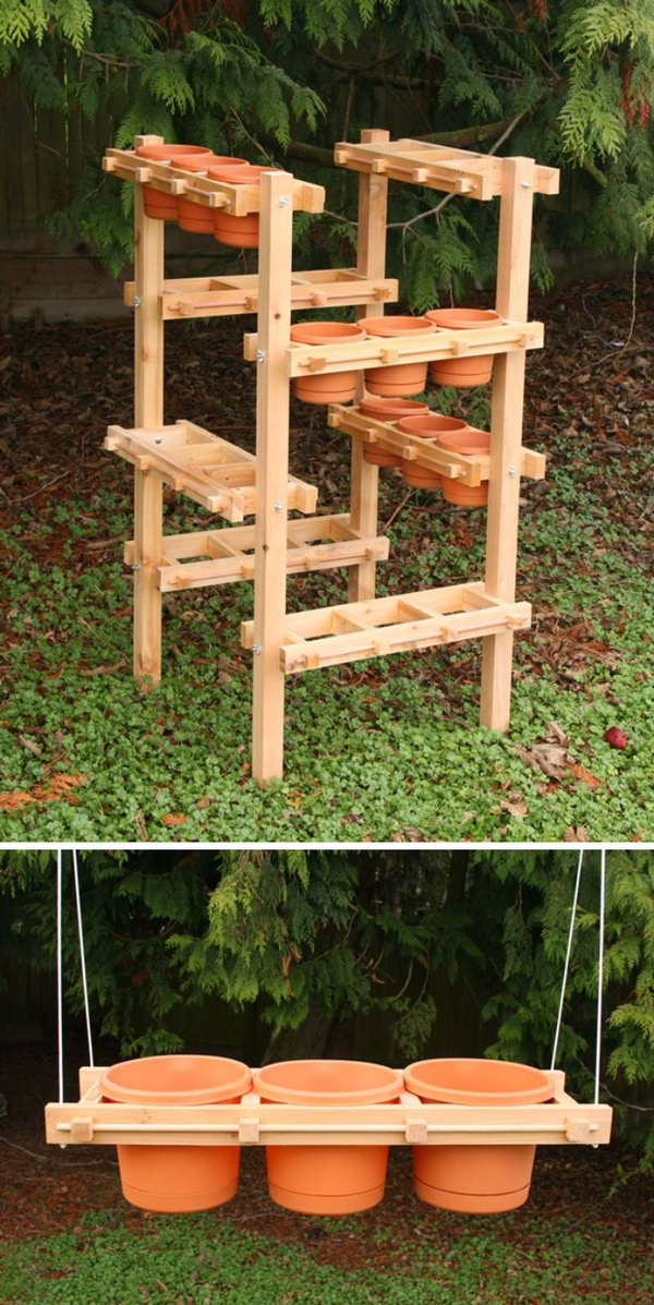 DIY Wood Vertical and Hanging Planter.