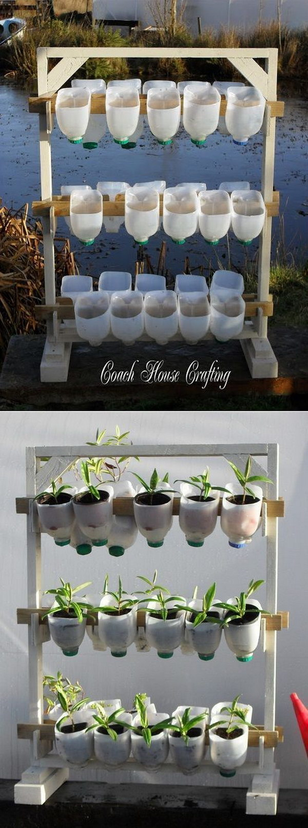DIY Vertical Garden Using Plastic Milk Bottles
