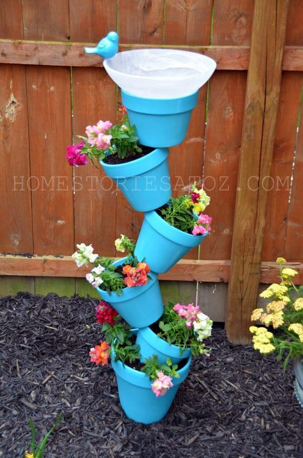 DIY Terra Cotta Pot Garden Planter and Bird Bath