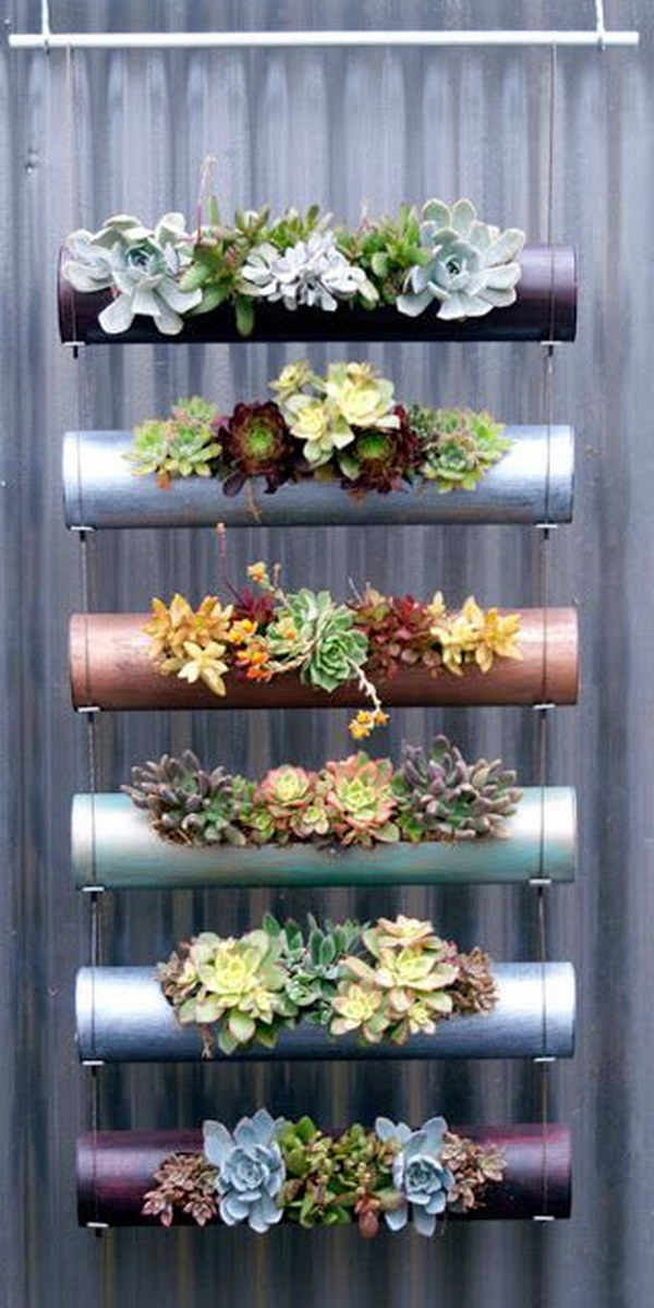 Vertical Hanging Succulents Garden Using Spray Painted PVC Pipe